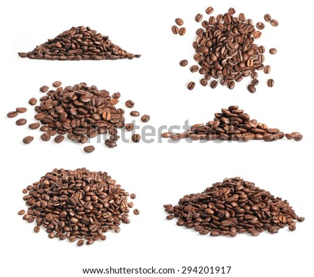 Collection of coffee beans heap on white  - stock photo