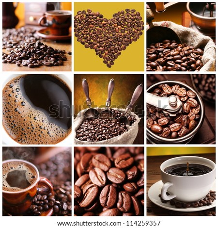 Collection of Coffee. Nine images of different types of coffee and accessories. - stock photo