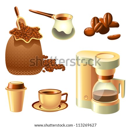 Collection of coffee-related objects - stock photo