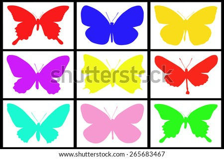 Collection of colored butterfly on white background - stock photo