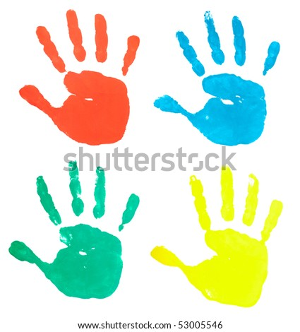 collection of colored hand prints on white background - stock photo