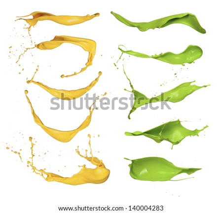 Collection of colored paint splashes on white background - stock photo