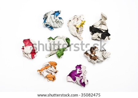 Collection of colorful balls of paper - stock photo