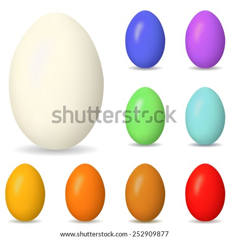 Collection of colorful blank easter eggs isolated on white. - stock photo