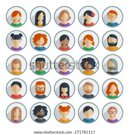 Collection of 25 colorful flat user icons different characters, sex, age and race for avatars in social networks, and communication interface - stock photo
