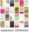 collection of colorful floral ornamental business card element. Raster version - stock photo