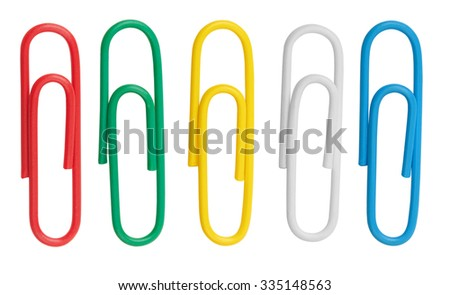 Collection of colorful paper clips isolated on white background - stock photo