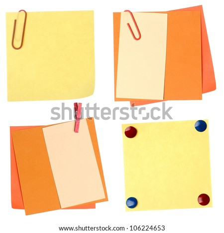 collection of colorful paper notes isolated on white - stock photo
