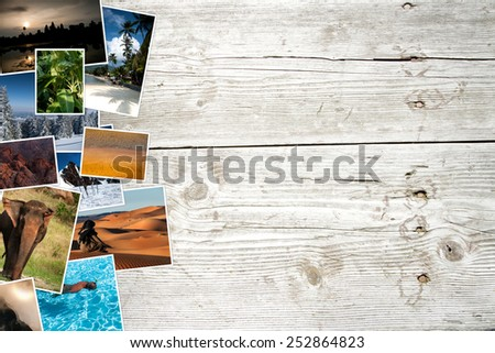 collection of colorful photos on background made from wooden planks - stock photo