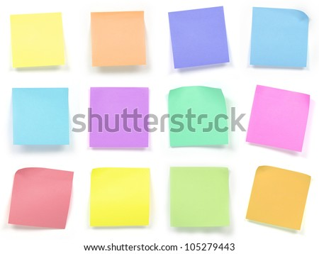 collection of colorful post it paper note - stock photo