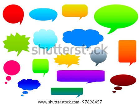 Collection of colorful speech bubbles and dialog balloons. Collection of various shape - stock photo