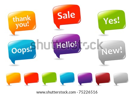 Collection Of Colorful Speech Bubbles And Dialog Balloons, Isolated On White Background - stock photo