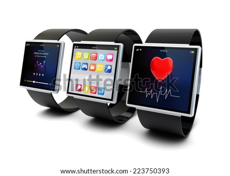 collection of conceptual smart watches isolated on white background - stock photo