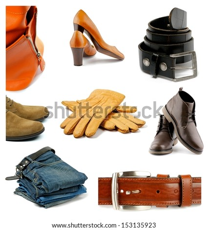 Collection of Contemporary Male and Female Clothes, Shoes and Accessories isolated on white background - stock photo