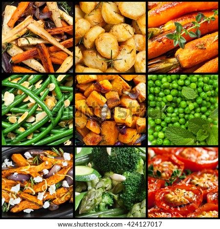 Collection of cooked vegetable dishes.  Includes parsnips, carrots, sweet potato, tomatoes, beans, broccoli, asparagus. - stock photo