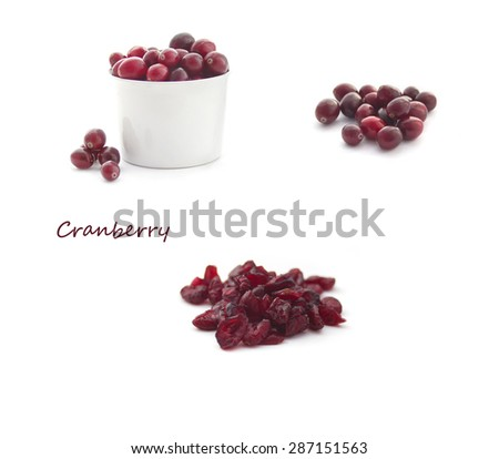 Collection of Cranberries isolated on white - stock photo