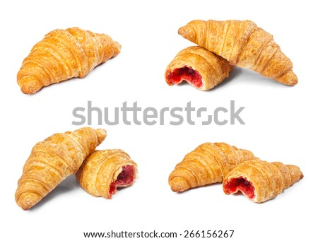 Collection of croissants isolated on white background. - stock photo