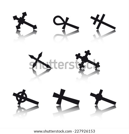 Collection of crosses isolated on white background - stock photo