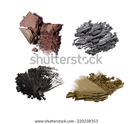 Collection of crushed eyeshadow on white background - stock photo