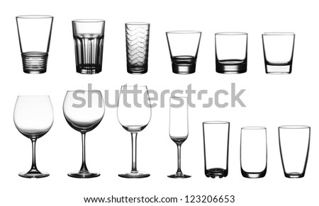 collection of cup glasses isolated on a white background - stock photo