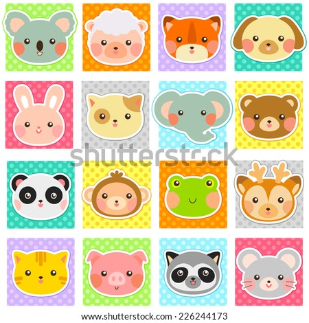 collection of cute animals over polka dotted patterns (swatches included). - stock photo