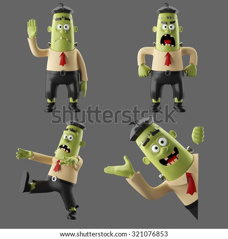 Collection of 3D cartoon funny monster man, illustrated frankenstein, set of halloween icon, isolated, no background - stock photo