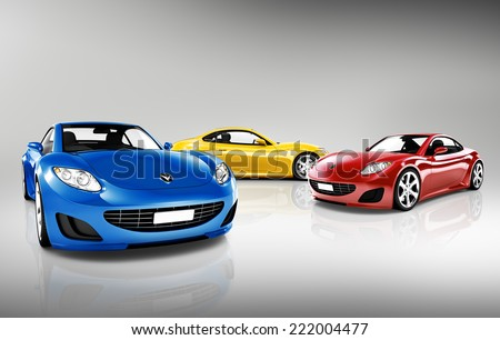 Collection of 3D Sports Cars - stock photo