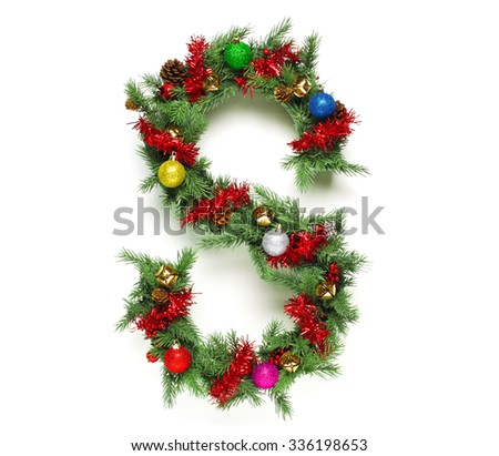 Collection of decorated Christmas tree letters and numbers - stock photo
