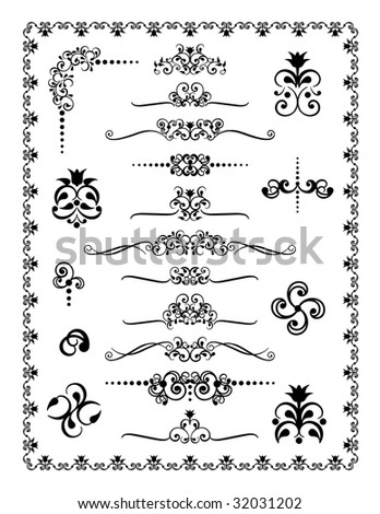 Collection #1 of decorative borders, dividers and ornaments. - stock photo