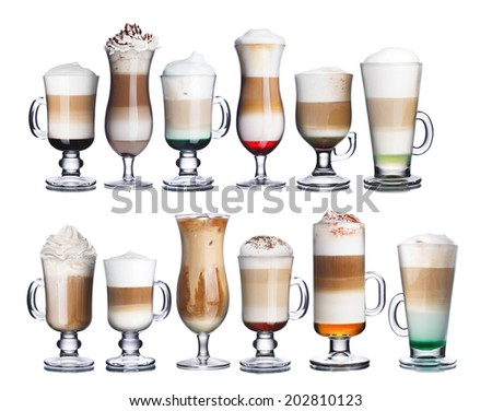 Collection of delicious coffee and coffee cocktails in transparent glasses. Irish coffee - stock photo