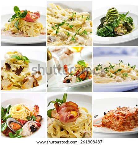 Collection of Delicious Italian Pasta  - stock photo