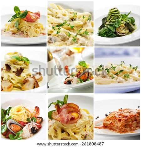 Collection of Delicious Italian Pasta  - stock photo