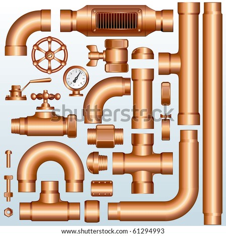 Collection of detailed Brass Pipeline construction pieces: pipes, fittings, valves, faucet, ells , flange parts...(id=61294537 version vector ) - stock photo