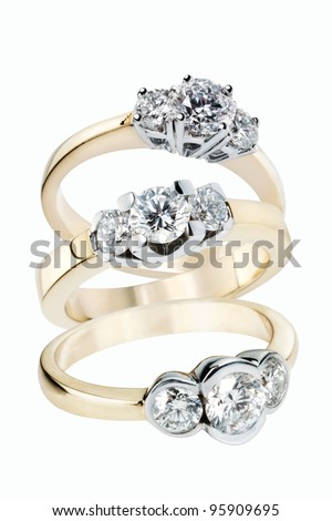 Collection of Diamond Rings in gold - stock photo