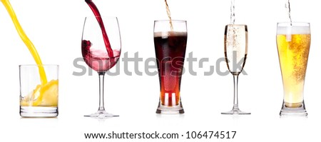 Collection of different images of alcohol drinks  isolated on a white background - stock photo