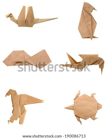 Collection of different origami papers isolated on white  - stock photo