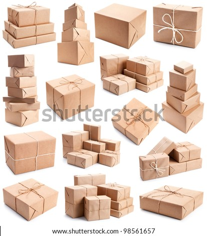 Collection of different parcels - stock photo