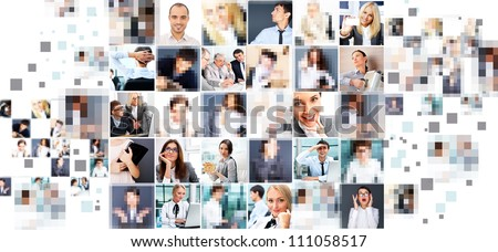 Collection of different people portraits - stock photo