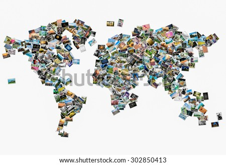 Collection of different photo placed as world map shape - stock photo