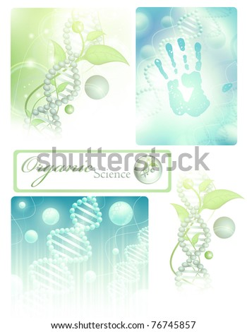 collection of different science themes with DNA - stock photo