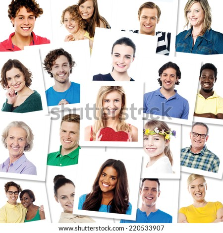 Collection of different smiling people - stock photo