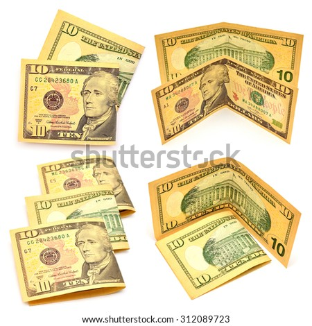 Collection of 10 dollars banknotes isolated on white background - stock photo