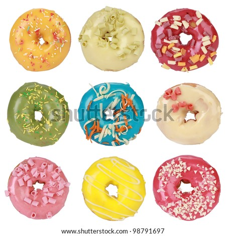 Collection of donuts on white background - stock photo