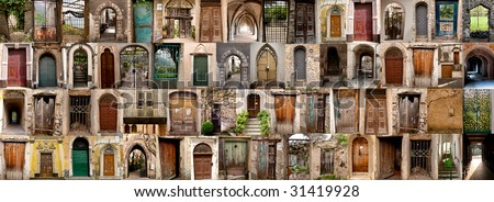 collection of doors in Italy - stock photo