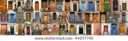 collection of doors in New York and London - stock photo