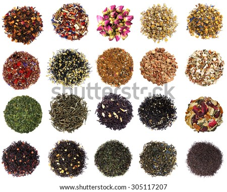 Collection of dry tea on white background - stock photo