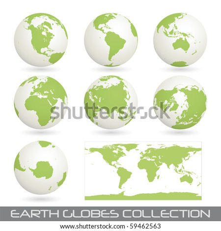 collection of earth globes end a map isolated on white, clip art illustration - stock photo