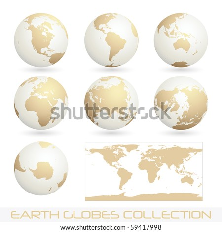 collection of earth globes isolated on white, clip art illustration - stock photo