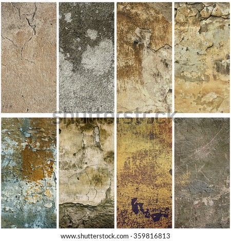 Collection of eight vertical  images with vintage grunge texture of old weathered dirty wall - stock photo