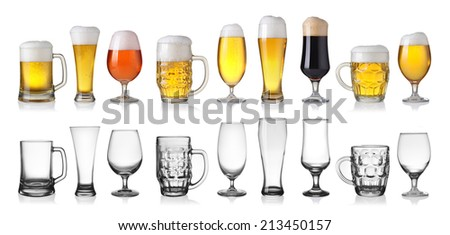 Collection of empty and full beer in glass isolated on white background  - stock photo